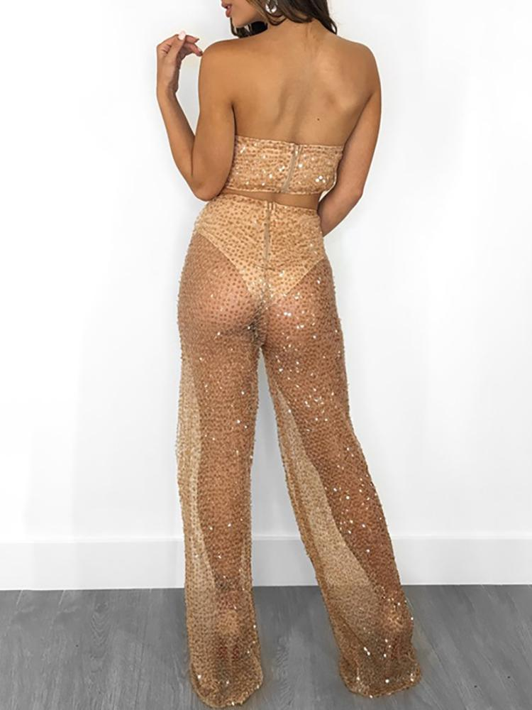 boutiquefeel / Sequins Sheer Bandeau Top & Pant Sets