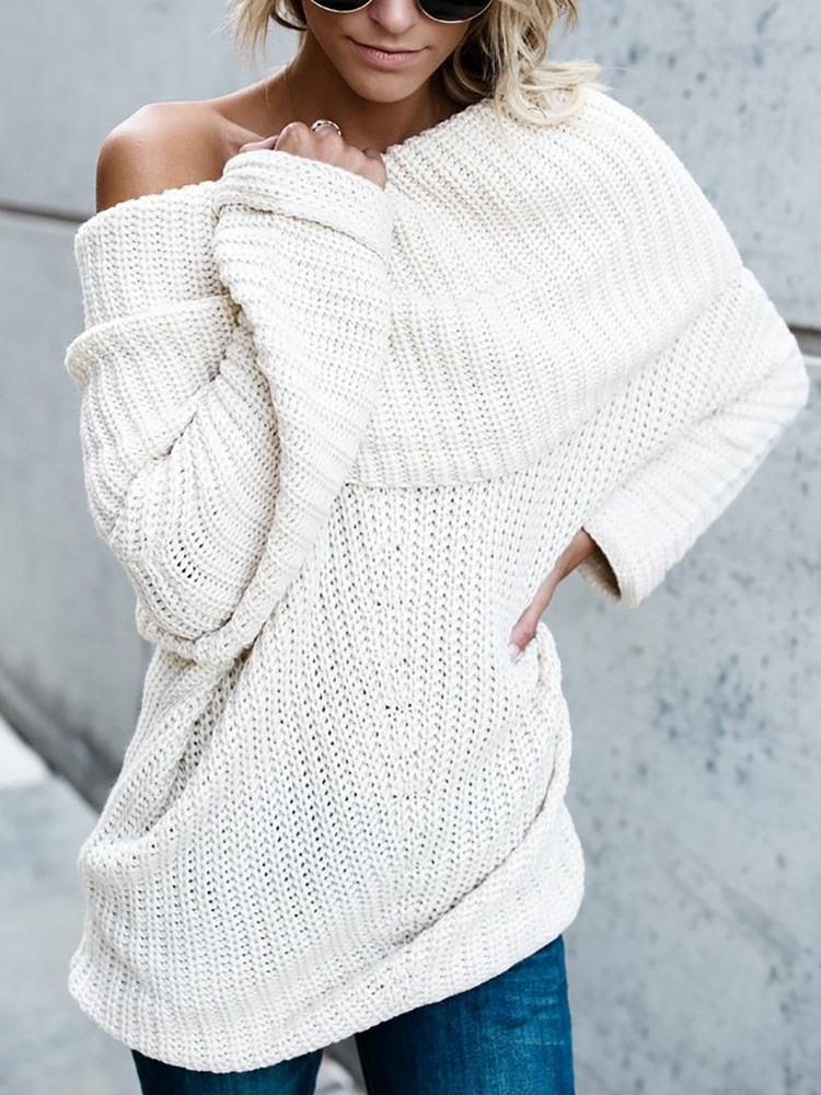 Low Cut Fold-Over Baggy Knitted Sweater
