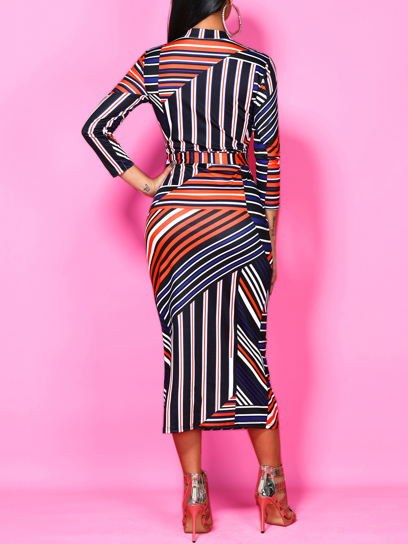 boutiquefeel / Irregular Striped Print Belted Sheath Dress
