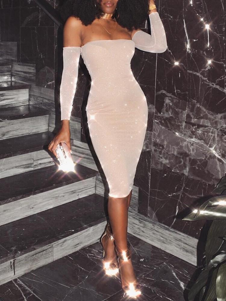 boutiquefeel / Glittering Off Shoulder Bodycon Midi Dress