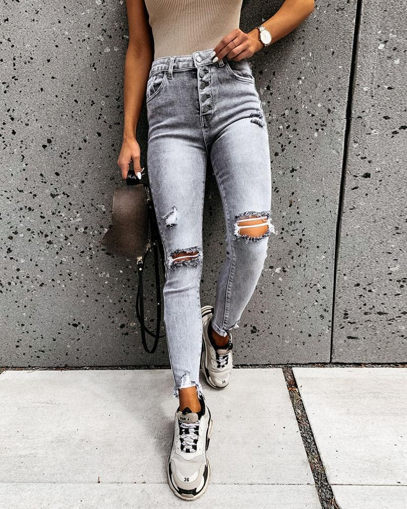 High Waisted Cut Out Ripped Casual Jeans thumbnail