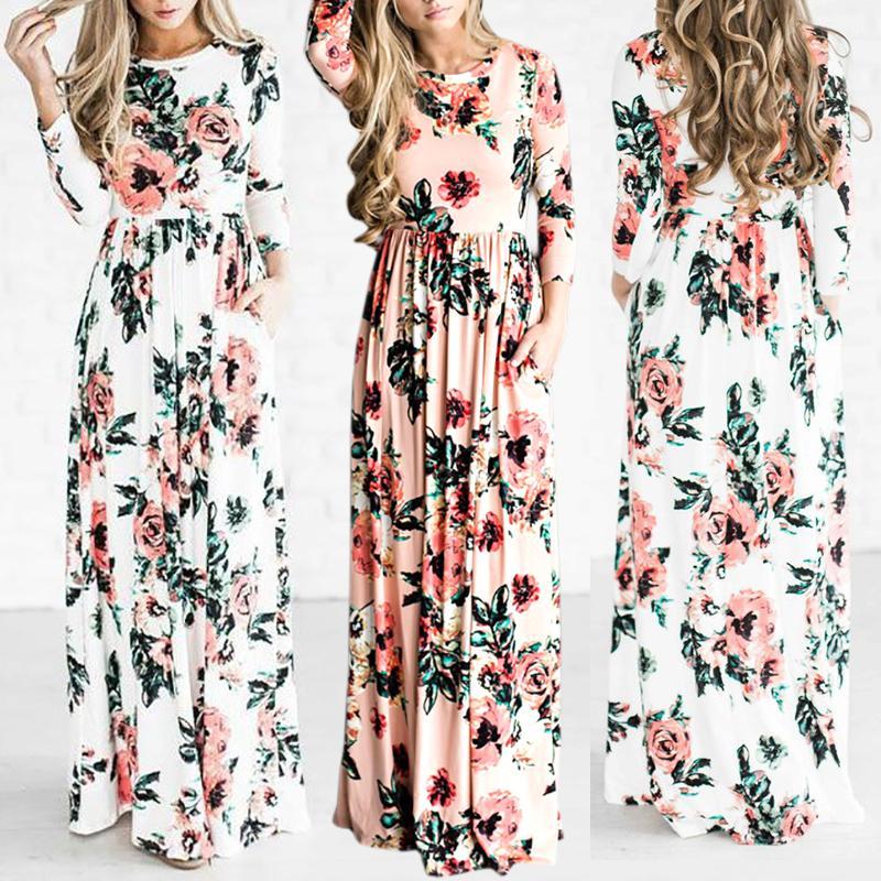 Plus Size Vintage Floral Pleated Maxi Dress thumbnail