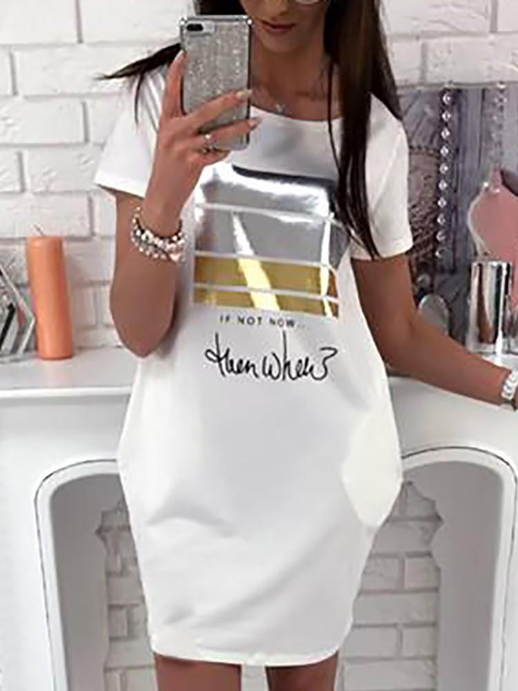 Letter Print Pocket Design Casual Dress