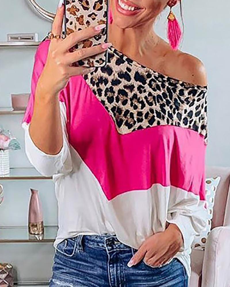 Cheetah Print Colorblock Long Sleeve Top thumbnail