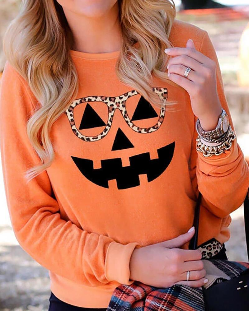 Halloween Pumpkin Face Cheetah Print Casual Top thumbnail