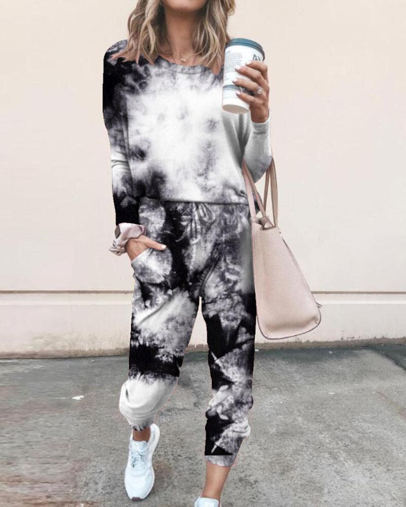 Tie Dye Print Top & Drawstring Pants Set thumbnail