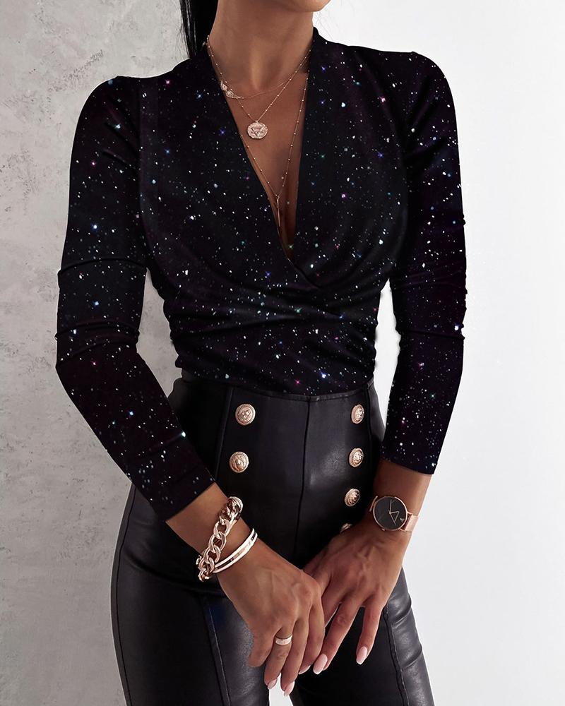 Glitter Plunge Ruched Long Sleeve Top thumbnail