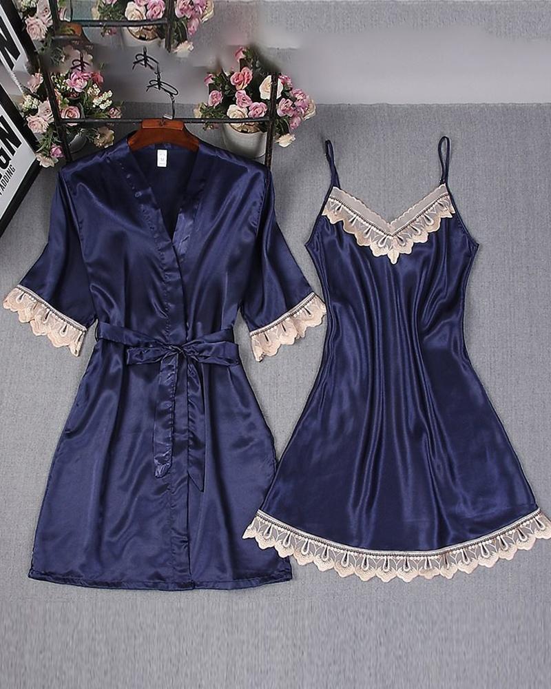 Lace Trim Satin Robe & Gown Set thumbnail