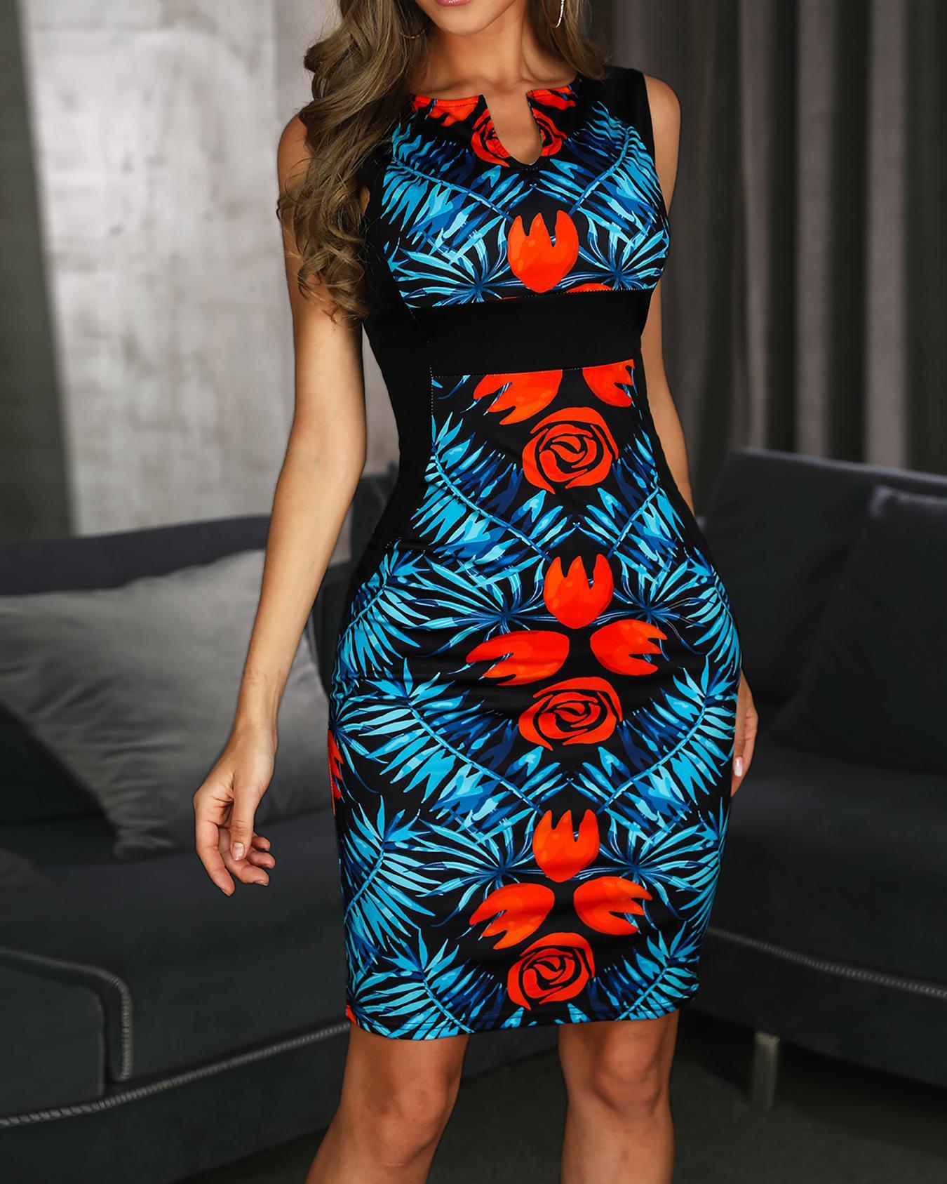 V-Cut Floral Print Sleeveless Midi Dress