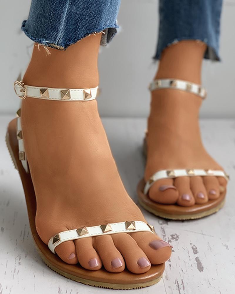 Rivet Detail Ankle Strap Flat Sandals thumbnail