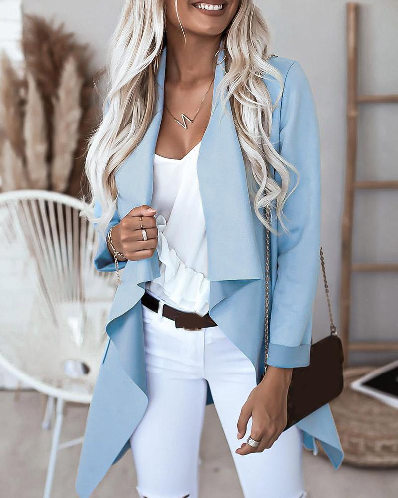 Plain Pocket Design Long Sleeve Cardigan