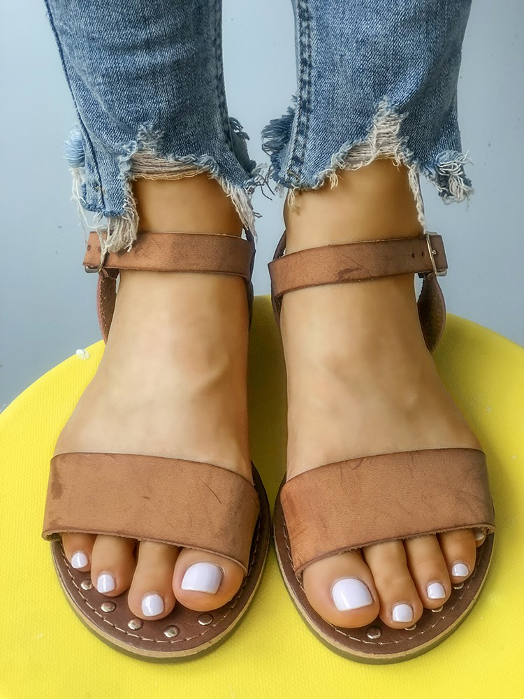 d6a4dc1f52d Sling Back Ankle Strap Single Band Flat Sandal