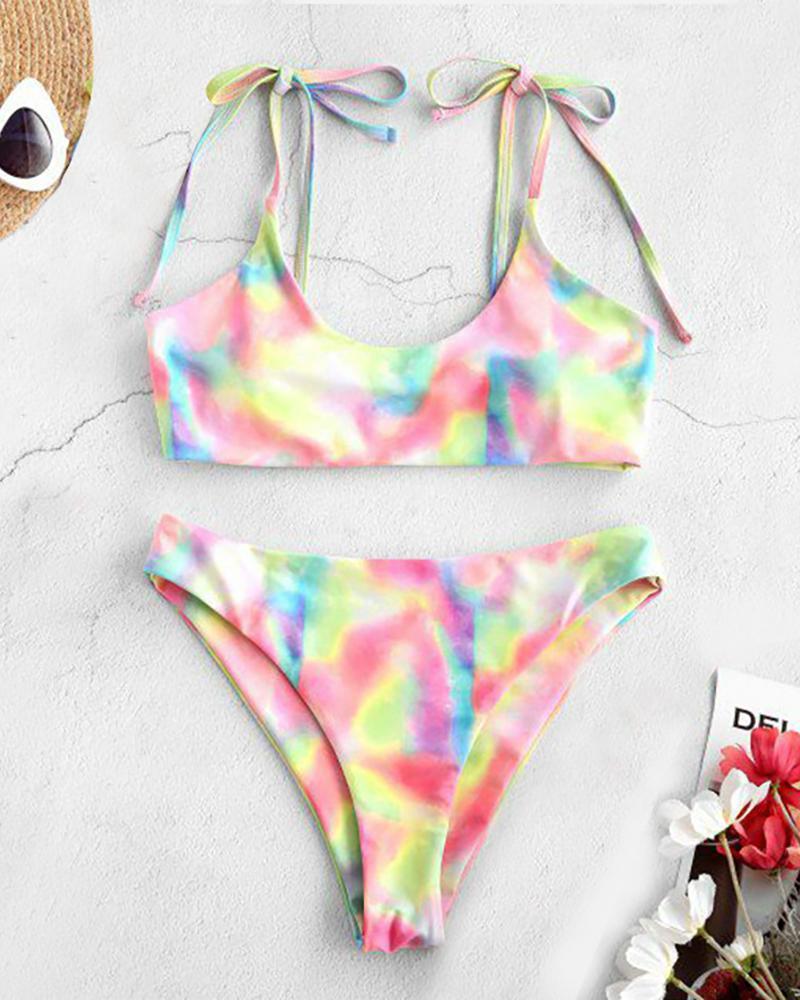 Tie Dye / Cheetah Pattern Print Padded Bikini Set thumbnail