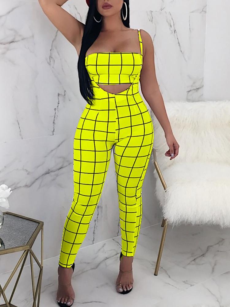 boutiquefeel / Plaid Print Crop Top&Slinky High Waist Pants Set