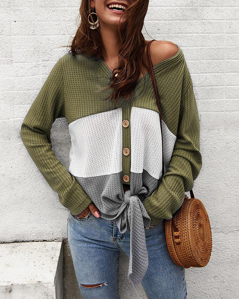 Colorblock Insert Buttoned Knotted Blouse thumbnail