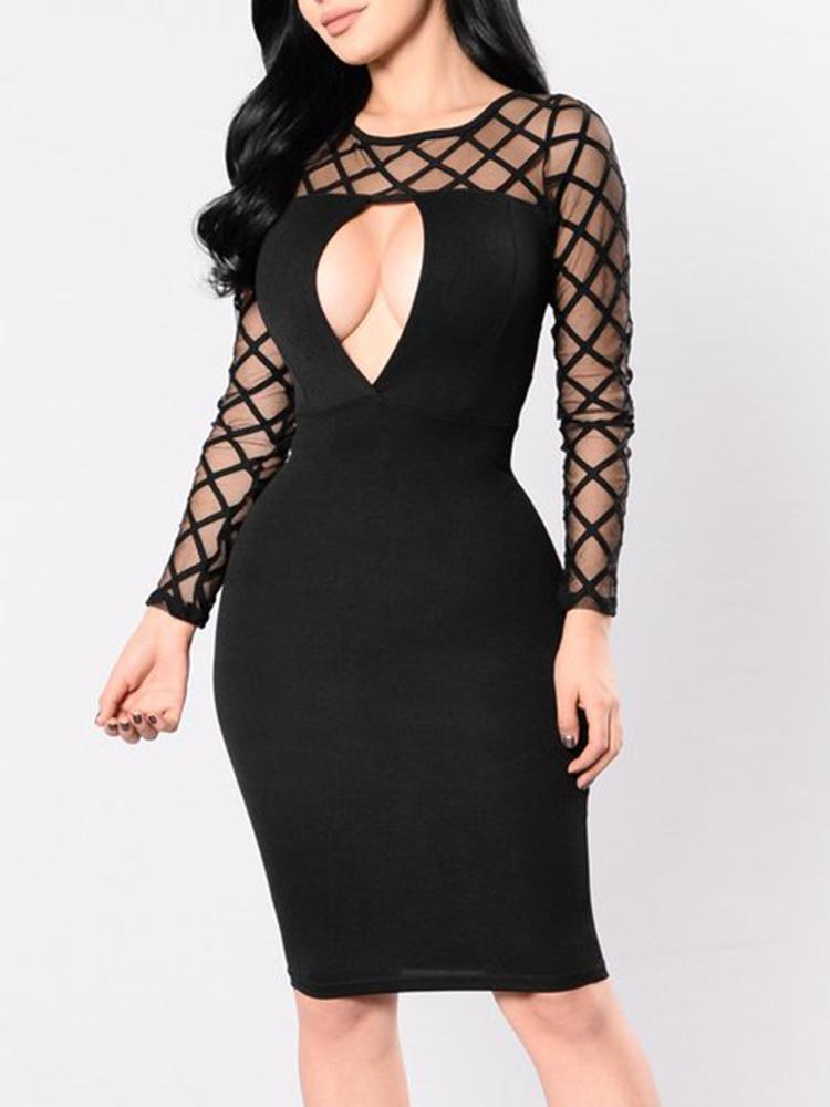 79122215424 Sexy Women See-through Diamond Pattern Cut Out Bodycon Dress Online.  Discover hottest trend fashion at chicme.com