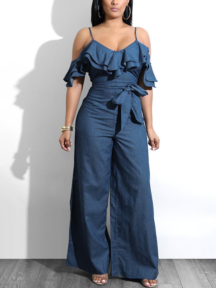 boutiquefeel / Layered Ruffles Belted Slip Denim Jumpsuit