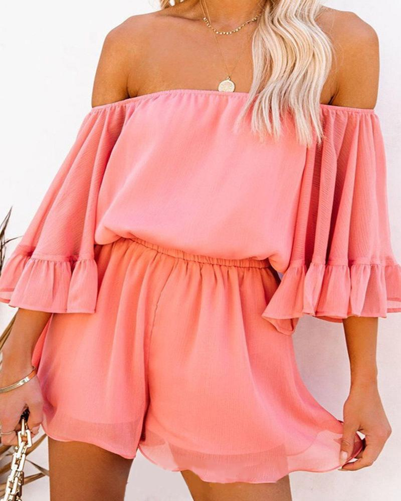 Off Shoulder Ruffles Bell Sleeve Romper