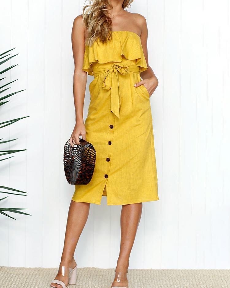 Ivrose coupon: Solid Ruffle Button Tie Waist Bandeau Dress