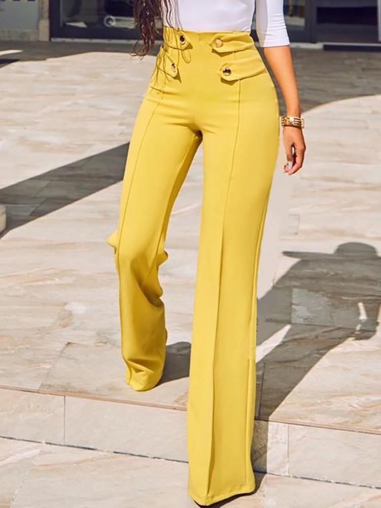 Stylish Buttoned High Waist Wide Leg Pants
