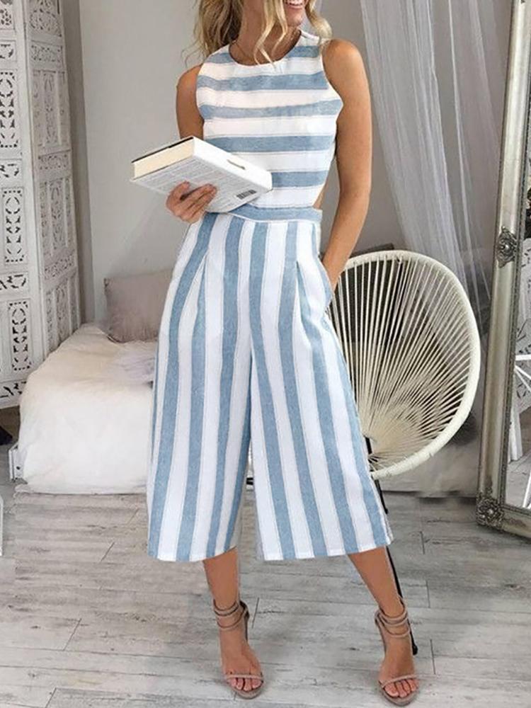 boutiquefeel / Striped Cutout Waist Wide Leg Jumpsuit