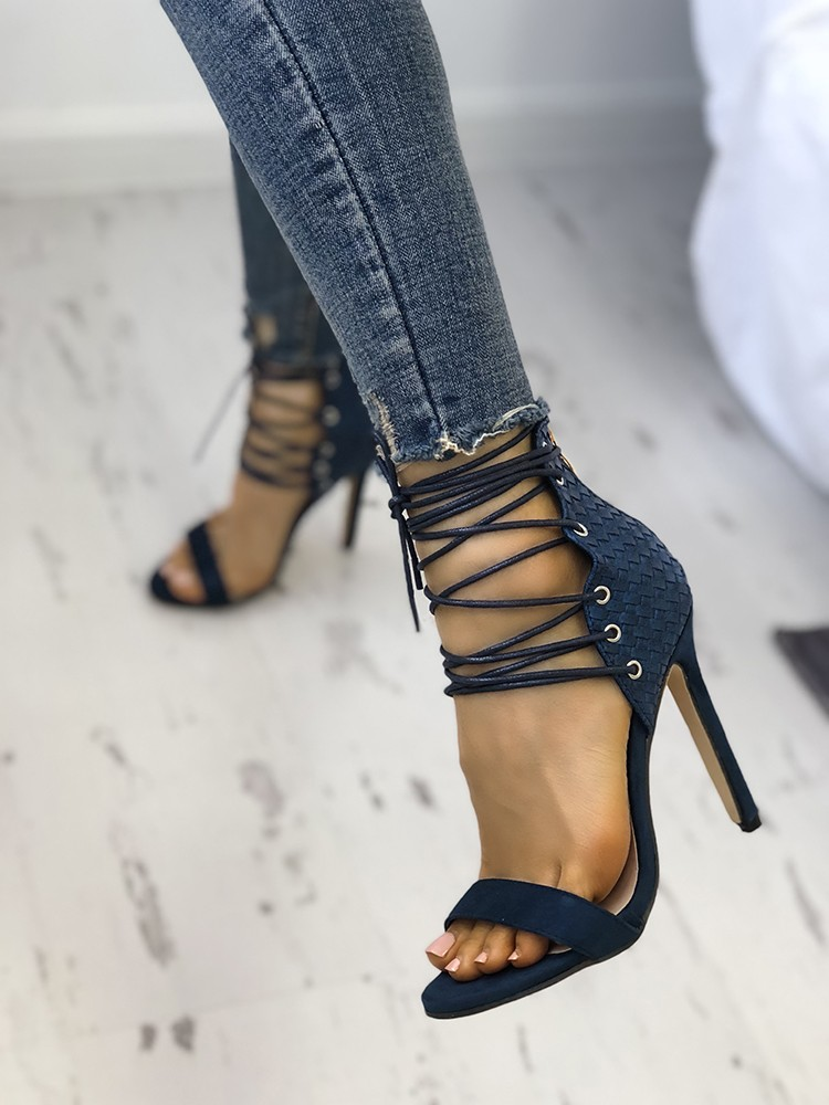 boutiquefeel / Stylish Peep Toe Lace-up Stiletto Sandals