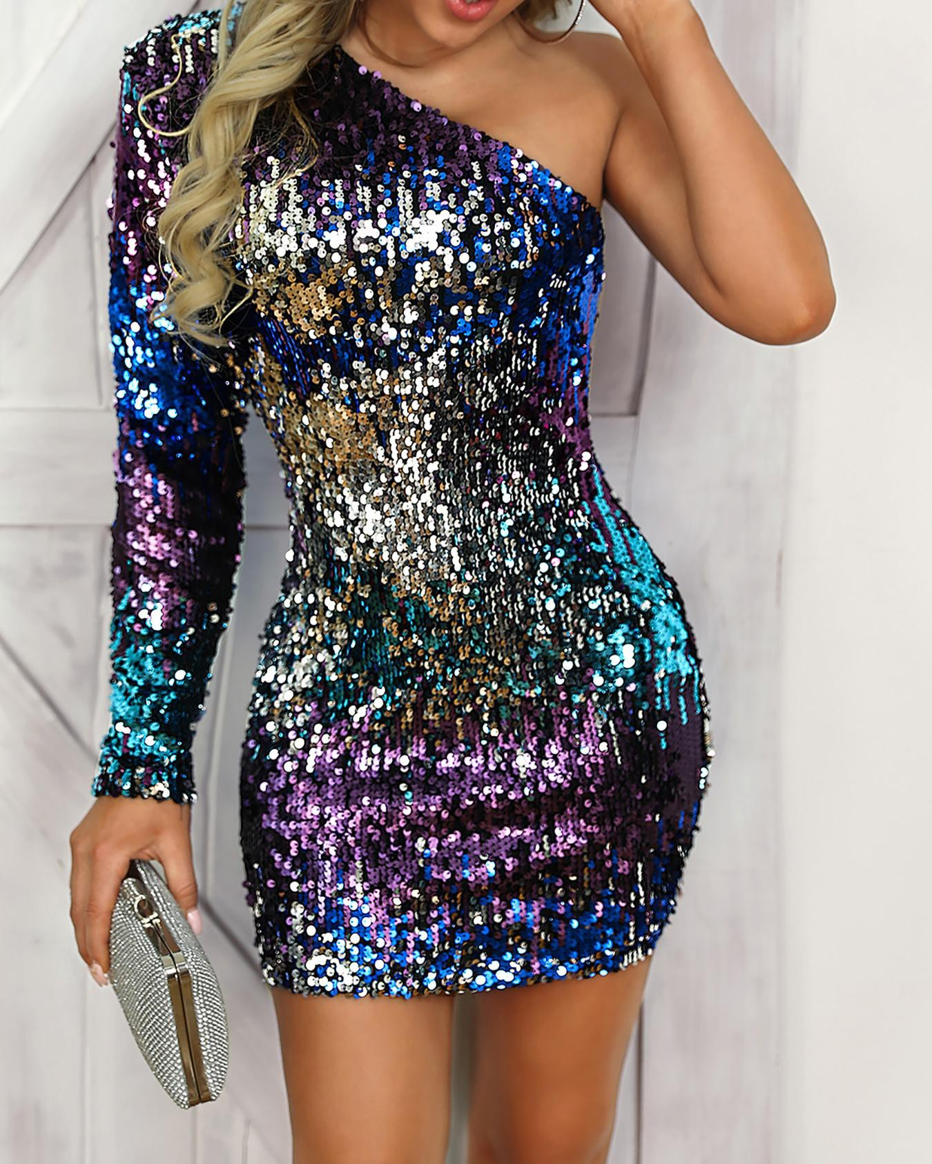 One Shoulder Colorful Sequin Party Dress Online. Discover hottest trend  fashion at chicme.com