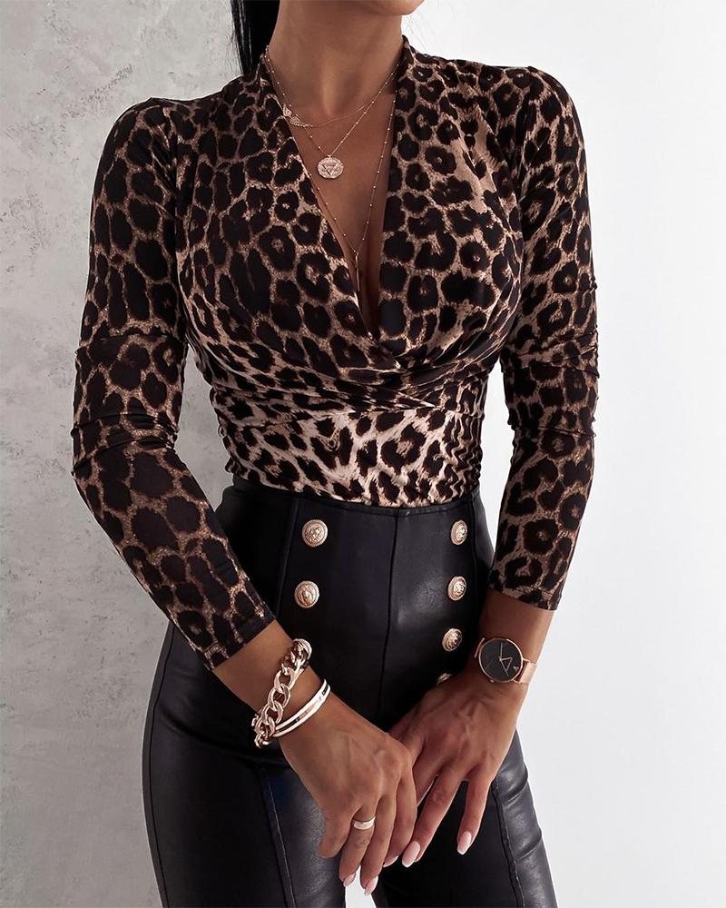 Cheetah Print V-neck Long Sleeve Top thumbnail