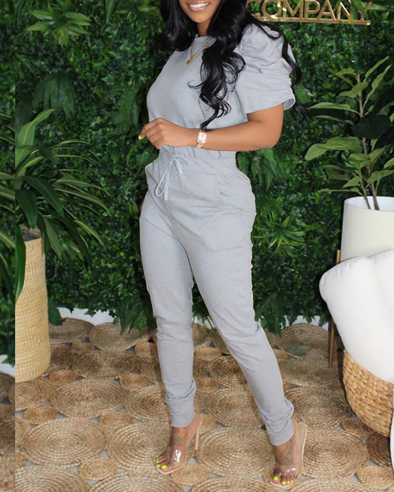 Puffed Sleeve Top & Drawstring Pants Set
