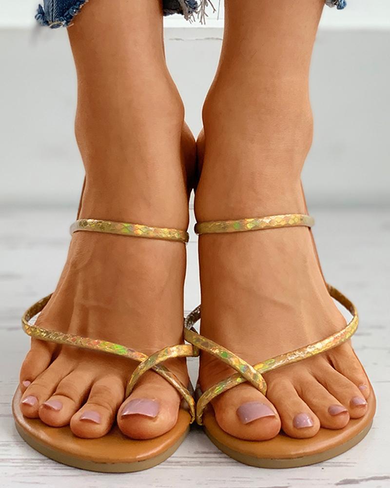Toe Ring Colorblock Casual Flat Sandals thumbnail