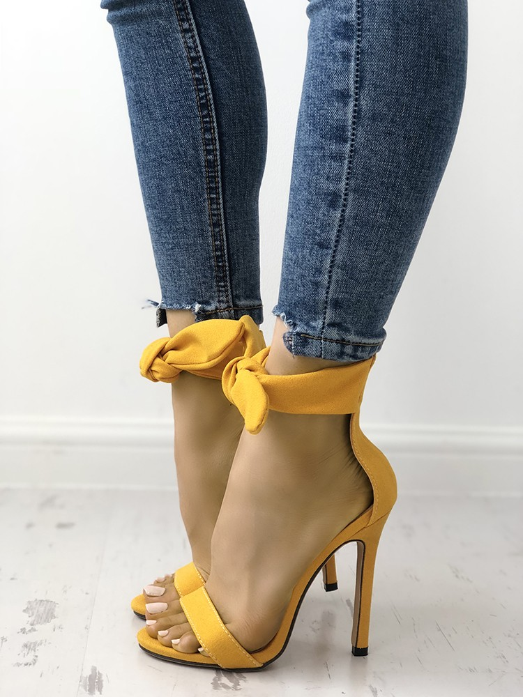 boutiquefeel / Peep Toe Thick Strap Ankle Tie Stiletto Sandals