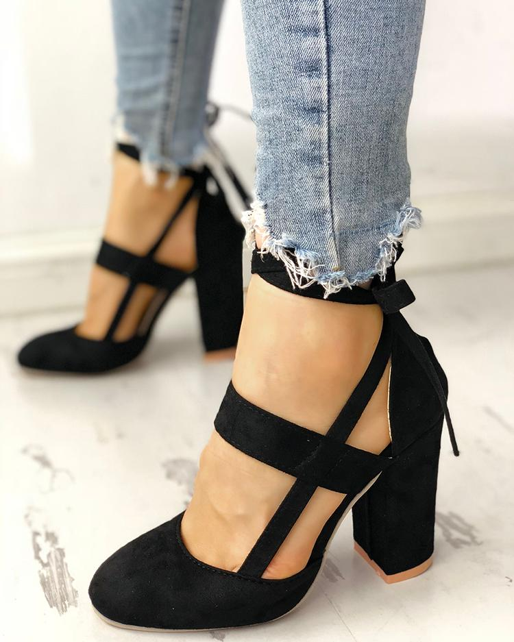 Fashion Caged Chunky Heels Shoes thumbnail
