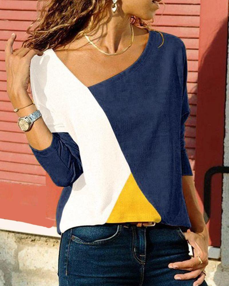 Tricolor Colorblock Long Sleeve Top thumbnail