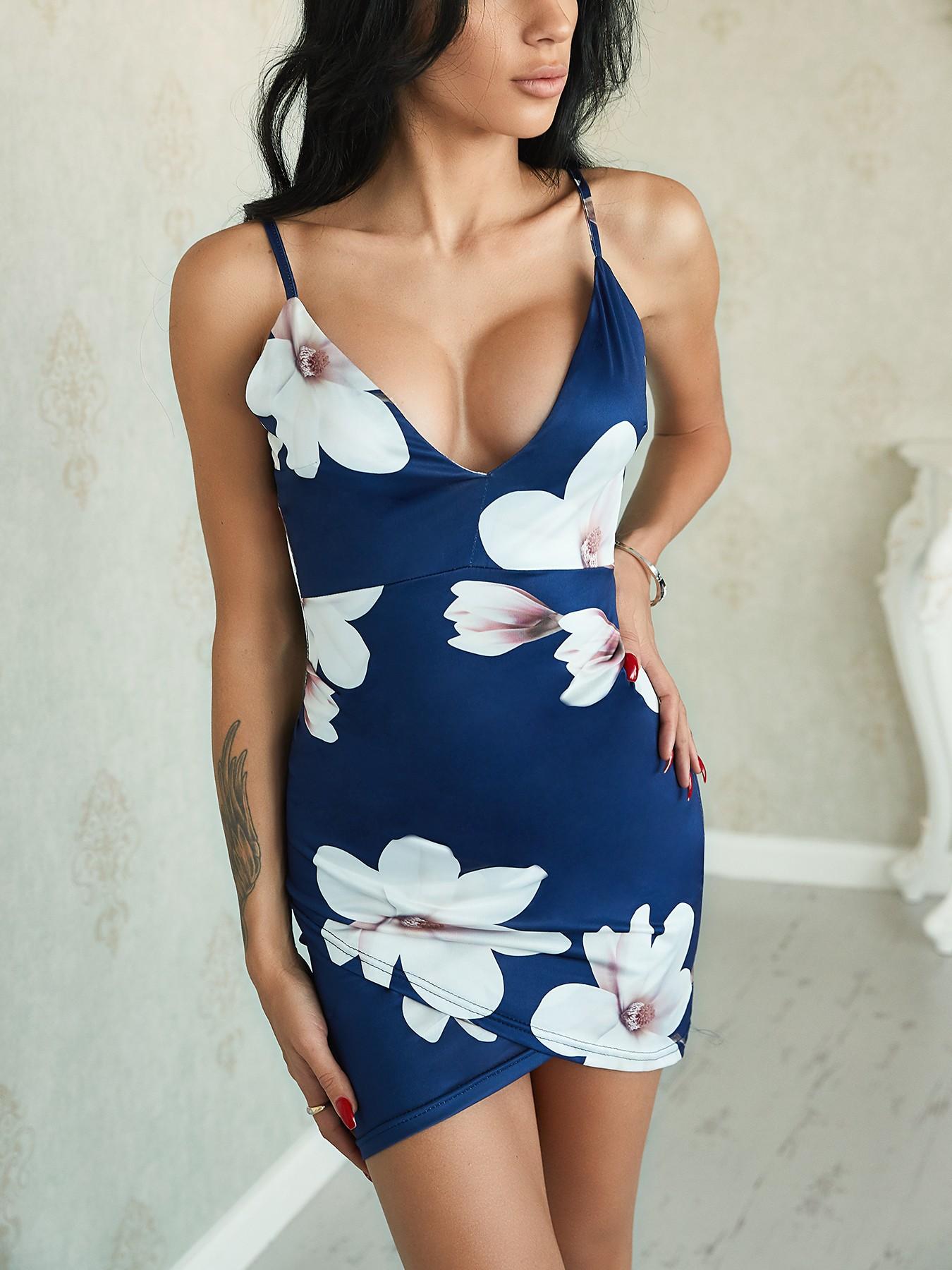 boutiquefeel / Irregular Floral Print Backless Bodycon Slip Dress