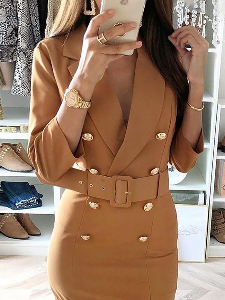 boutiquefeel / Double-Breasted Belted Slit Blazer Dress