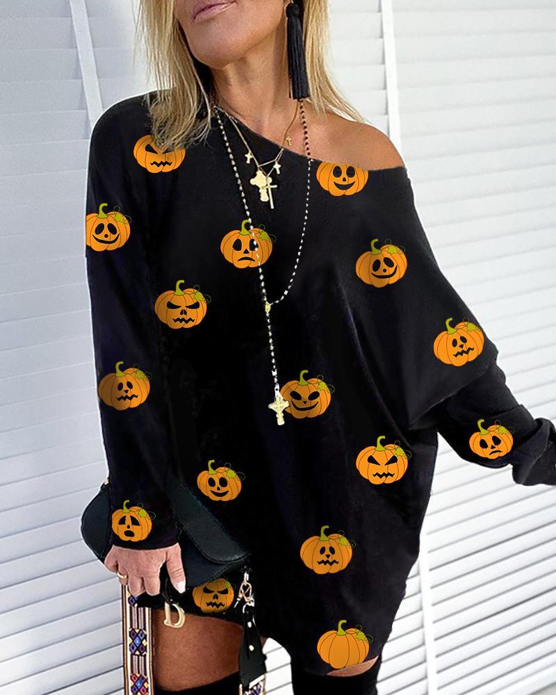 Halloween Pumpkin Print Casual Sweatshirt thumbnail