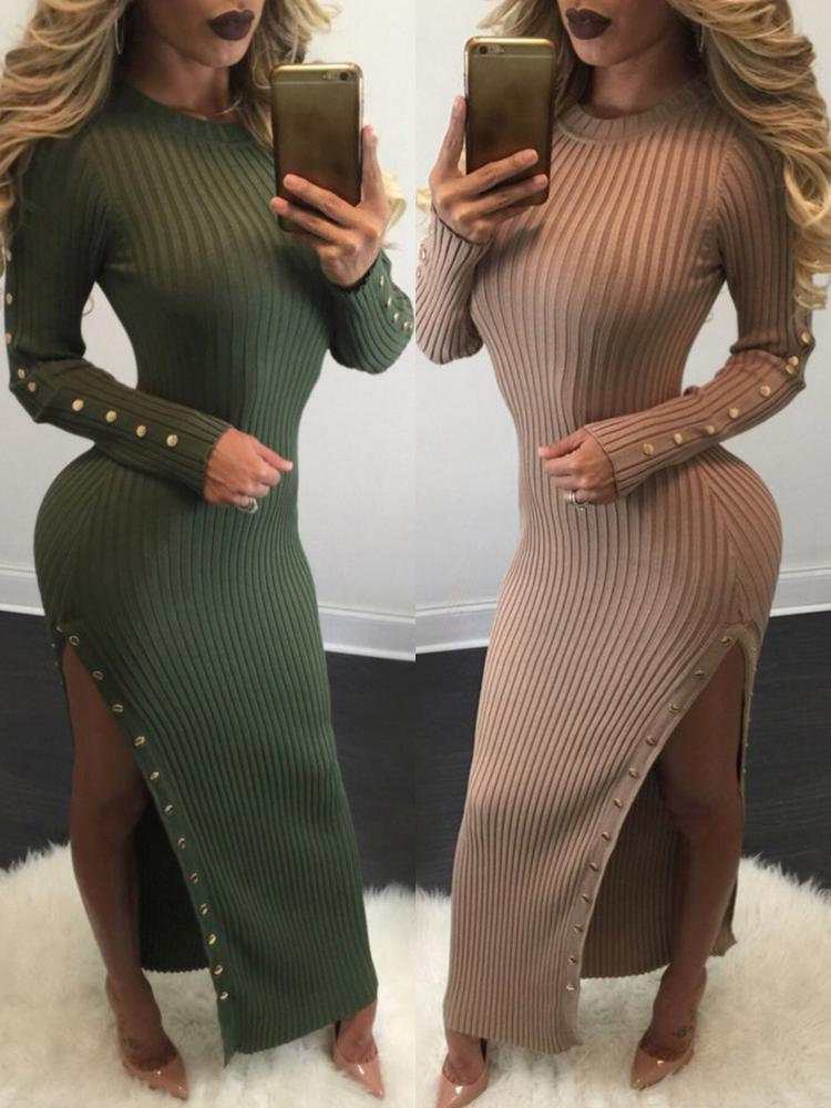 Buttons High Slit Jersey Dress