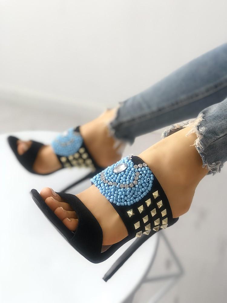 Rivet Shiny Embellished Open Toe Heels Sandals