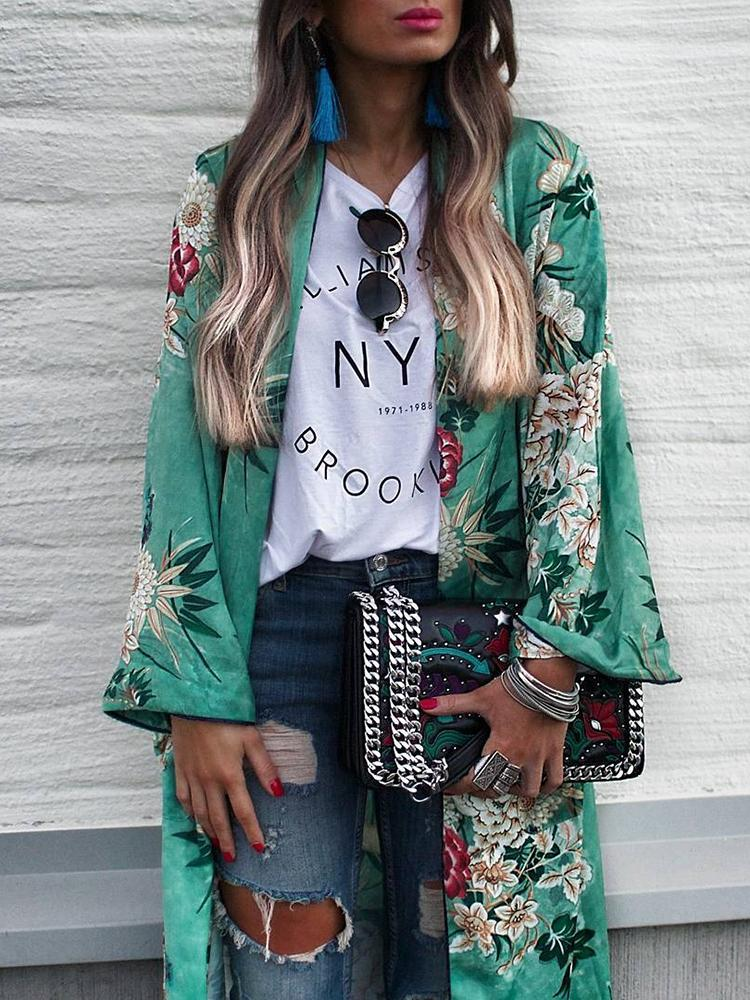 Stylish Floral Print Casual Cardigan