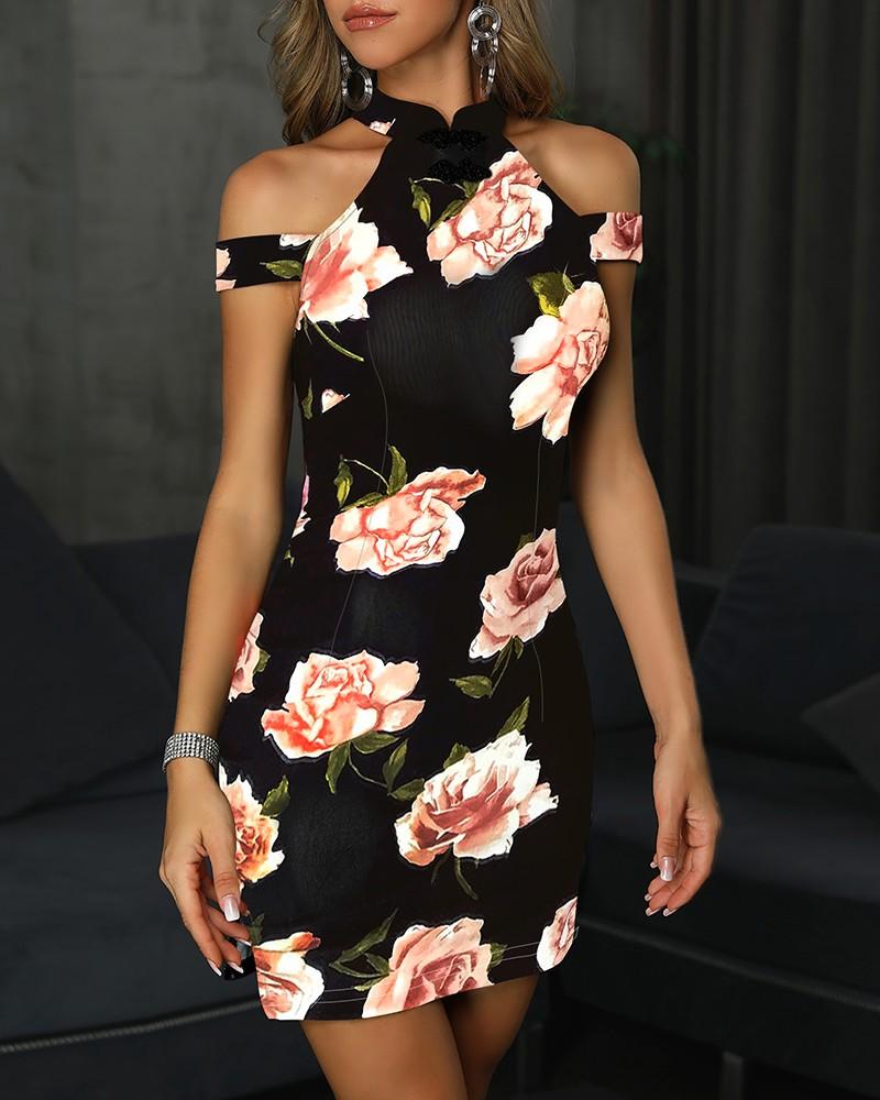 Floral Print Cold Shoulder Bodycon Dress