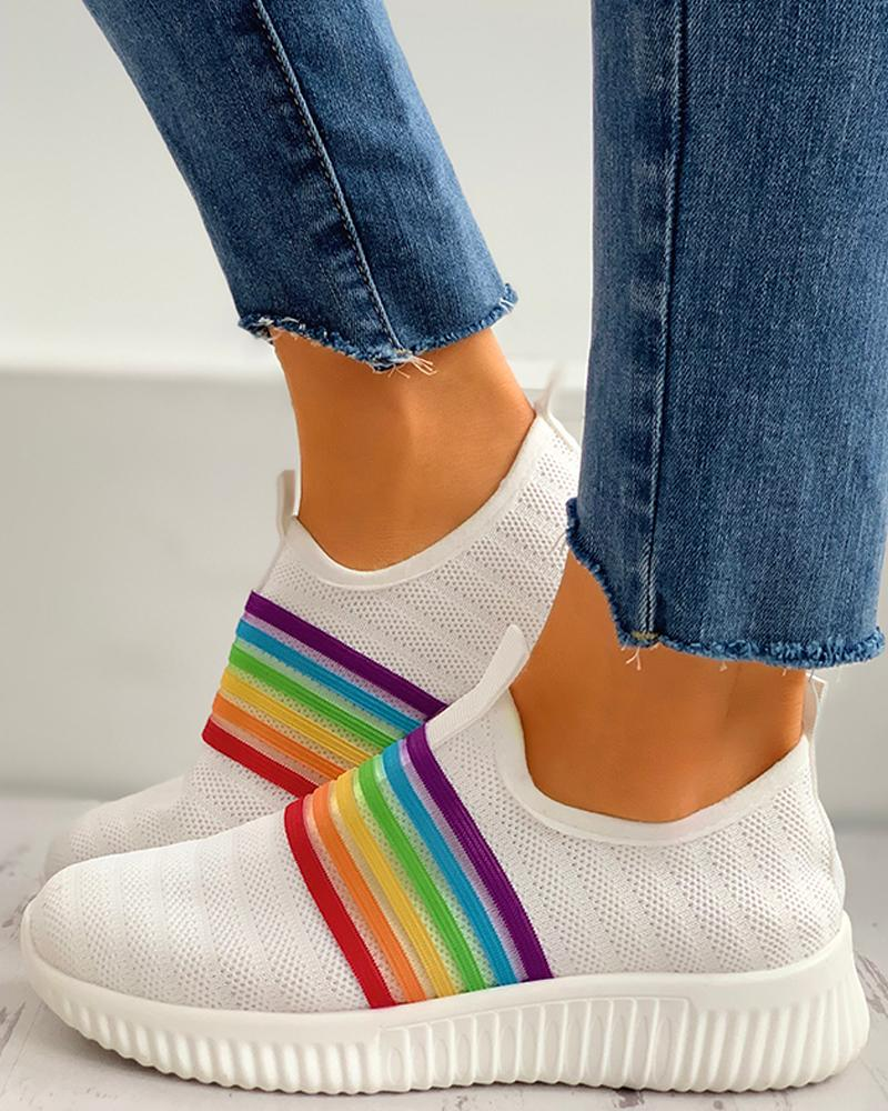 Colorblock Breathable Knitted Casual Sneakers thumbnail