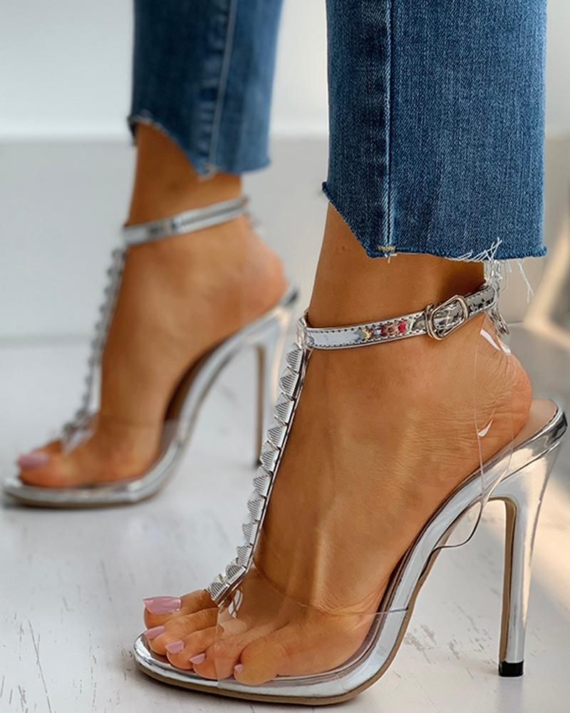 Transparent T-Strap  Ankle Buckled Stiletto Heel thumbnail