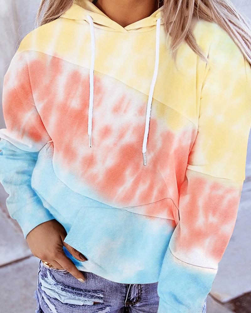 Tie Dye Print Colorblock Casual Hooded Top thumbnail
