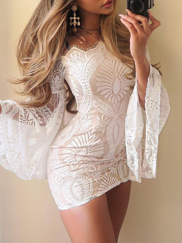 boutiquefeel / Lace Off Shoulder Flare Sleeve Bodycon Dress