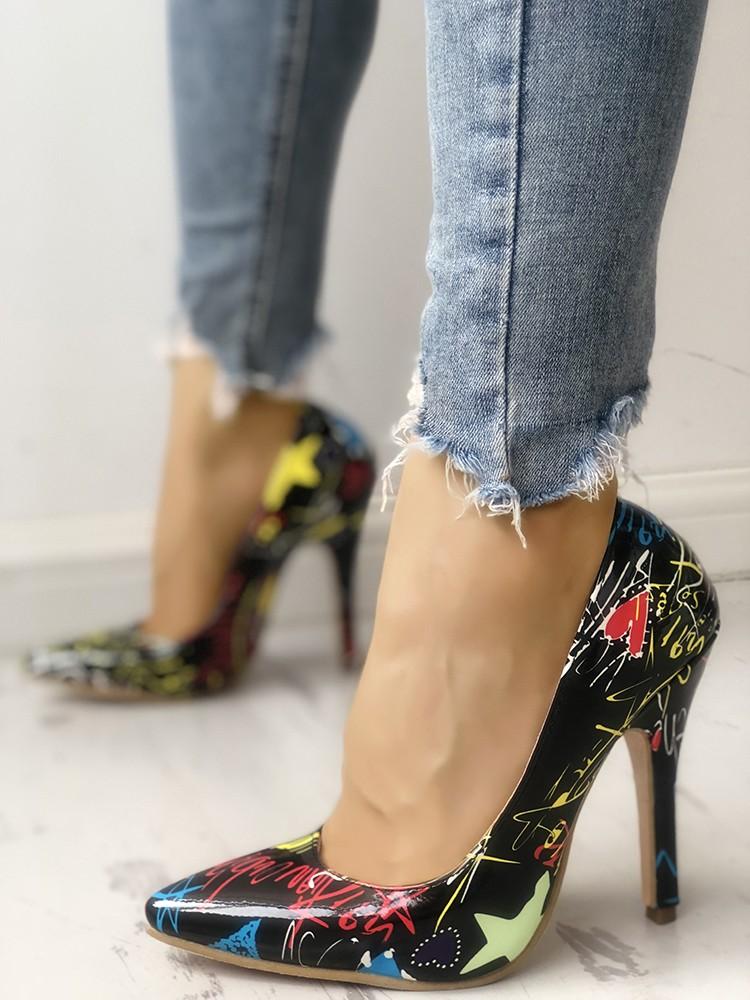 boutiquefeel / Graffiti Print Point Toe Thin Heels