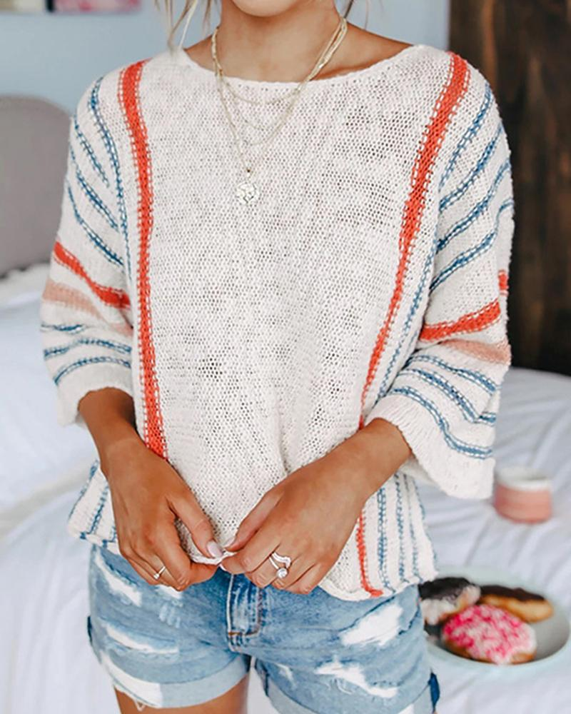 Striped Long Seeve Loose Knitted Sweaters thumbnail