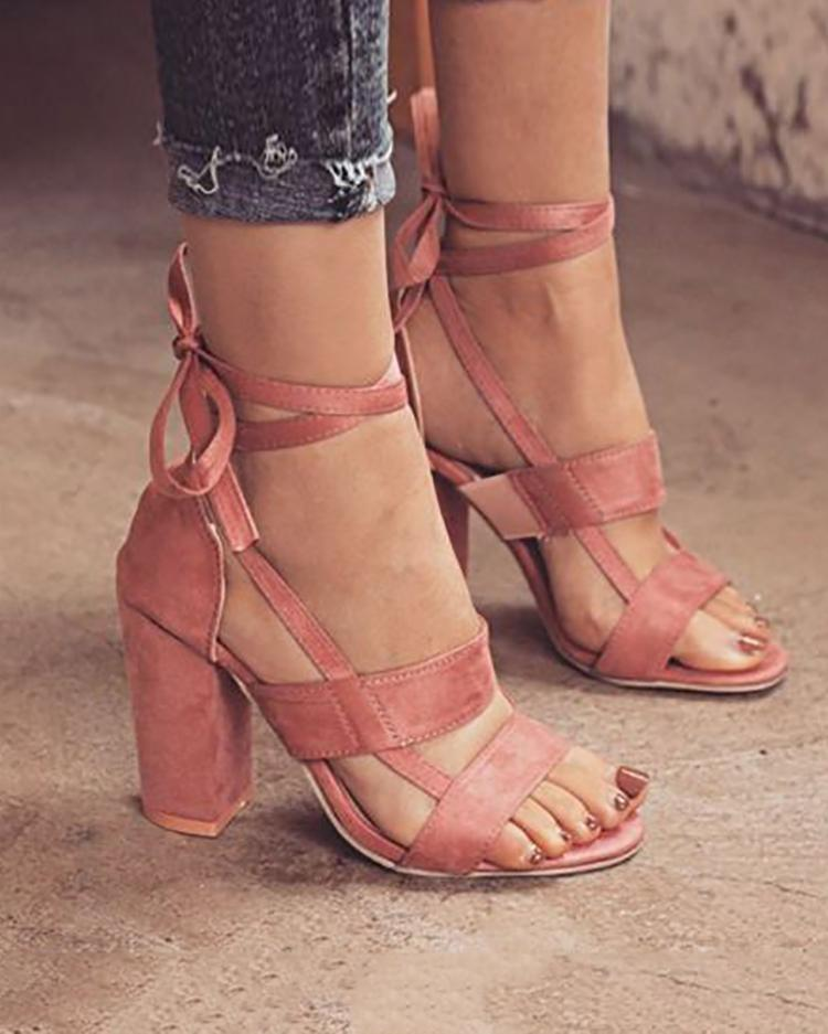 Ivrose coupon: Fashion Solid Color Chunky Heeled Sandals