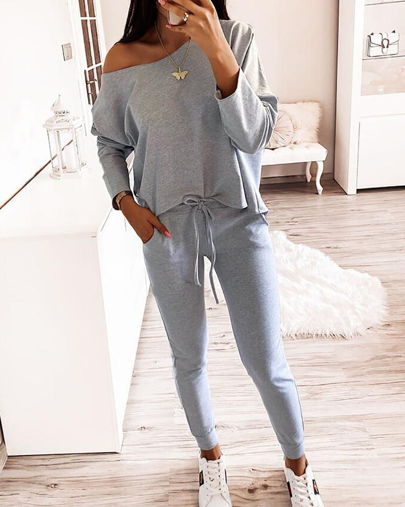One Shoulder Top & Drawstring Pants Set thumbnail