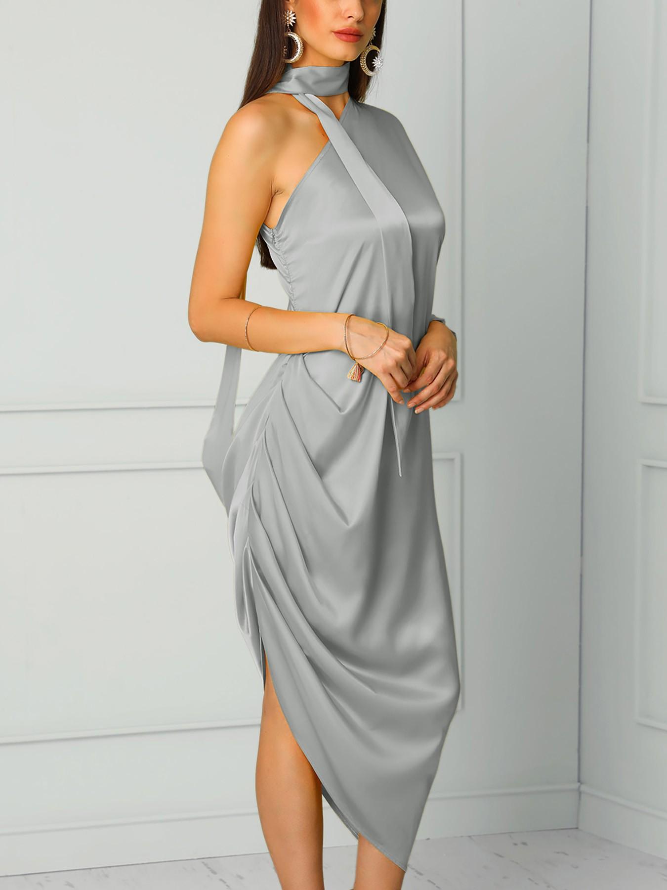 boutiquefeel / Choker One Shoulder Scrunch Slit Side Maxi Dress
