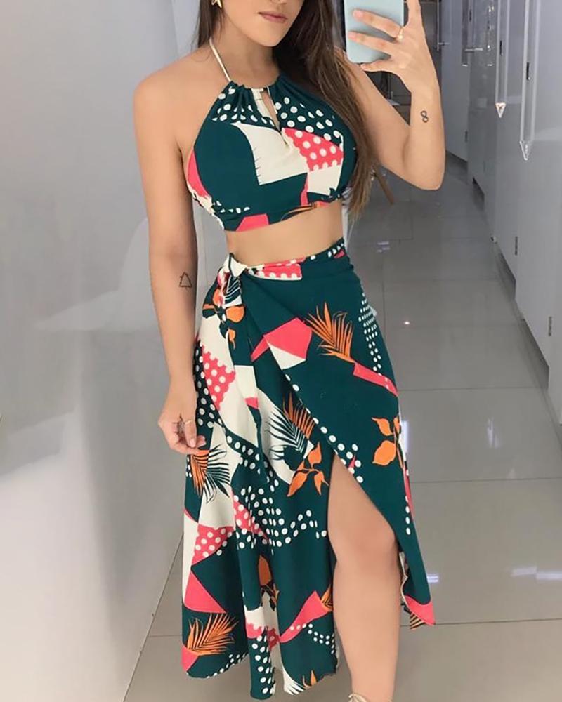 Mixed Print Halter Crop Top & Slit Skirt Sets
